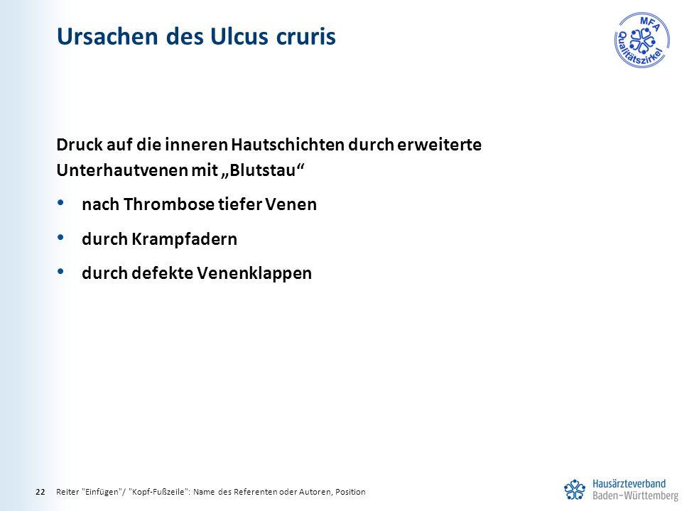 Ursachen des Ulcus cruris Reiter