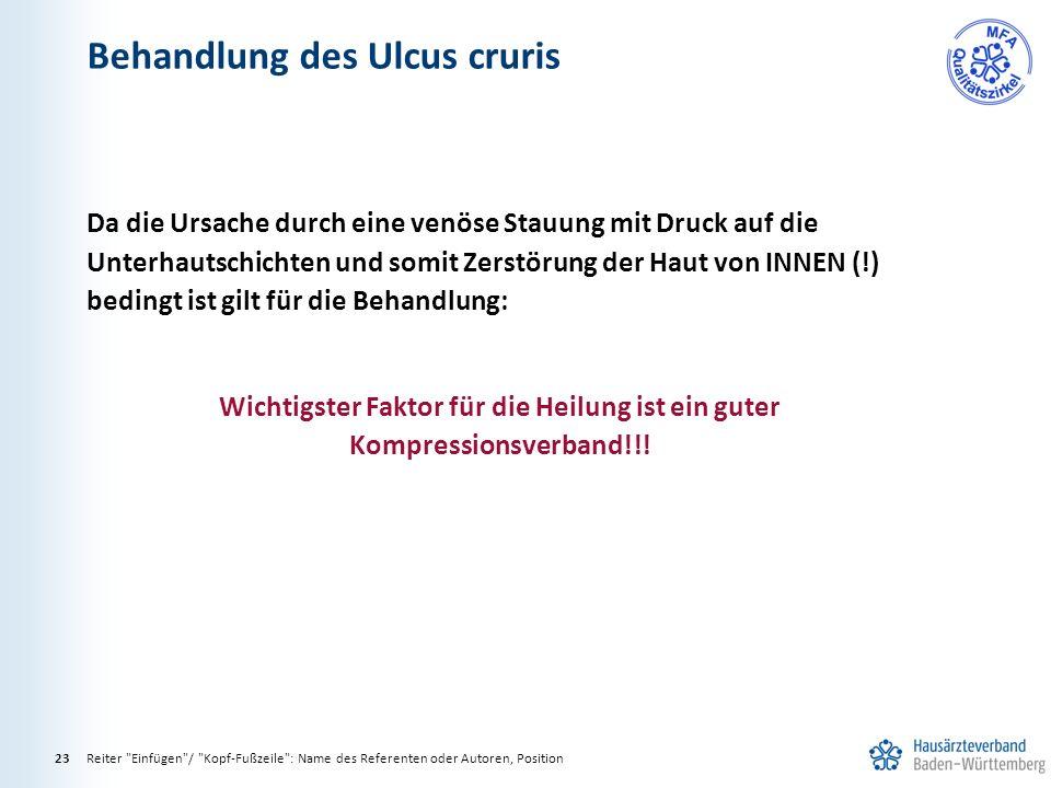 Behandlung des Ulcus cruris Reiter