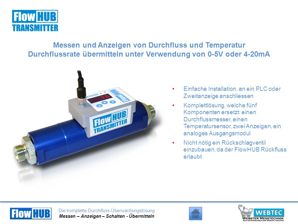 Die komplette Durchfluss-Überwachungslösung Messen – Anzeigen – Schalten - Übermitteln Messen und Anzeigen von Durchfluss und Temperatur Durchflussrat