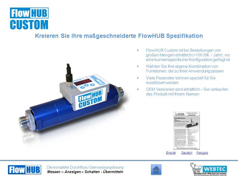 Die komplette Durchfluss-Überwachungslösung Messen – Anzeigen – Schalten - Übermitteln Kreieren Sie Ihre maßgeschneiderte FlowHUB Spezifikation FlowHU
