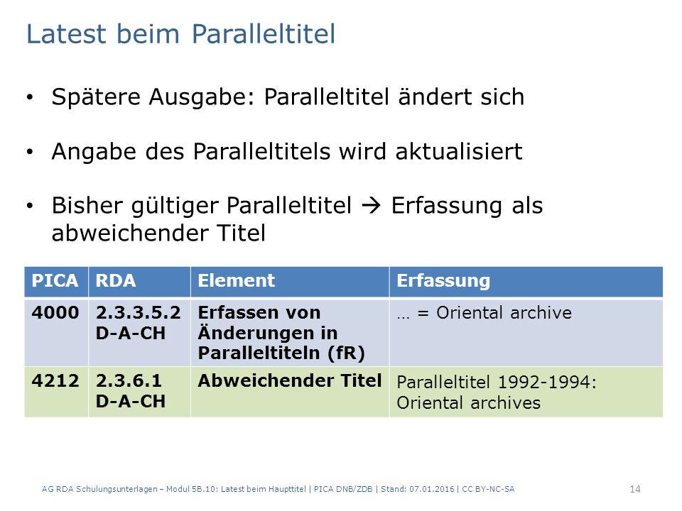 AG RDA Schulungsunterlagen – Modul 5B.10: Latest beim Haupttitel | PICA DNB/ZDB | Stand: 07.01.2016 | CC BY-NC-SA 14 PICARDAElementErfassung 40002.3.3.5.2 D-A-CH Erfassen von Änderungen in Paralleltiteln (fR) … = Oriental archive 42122.3.6.1 D-A-CH Abweichender Titel Paralleltitel 1992-1994: Oriental archives Latest beim Paralleltitel Spätere Ausgabe: Paralleltitel ändert sich Angabe des Paralleltitels wird aktualisiert Bisher gültiger Paralleltitel  Erfassung als abweichender Titel