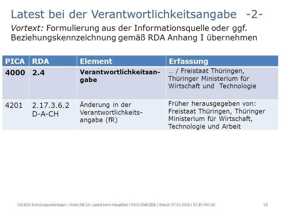 AG RDA Schulungsunterlagen – Modul 5B.10: Latest beim Haupttitel | PICA DNB/ZDB | Stand: 07.01.2016 | CC BY-NC-SA 18 Latest bei der Verantwortlichkeitsangabe -2- Vortext: Formulierung aus der Informationsquelle oder ggf.