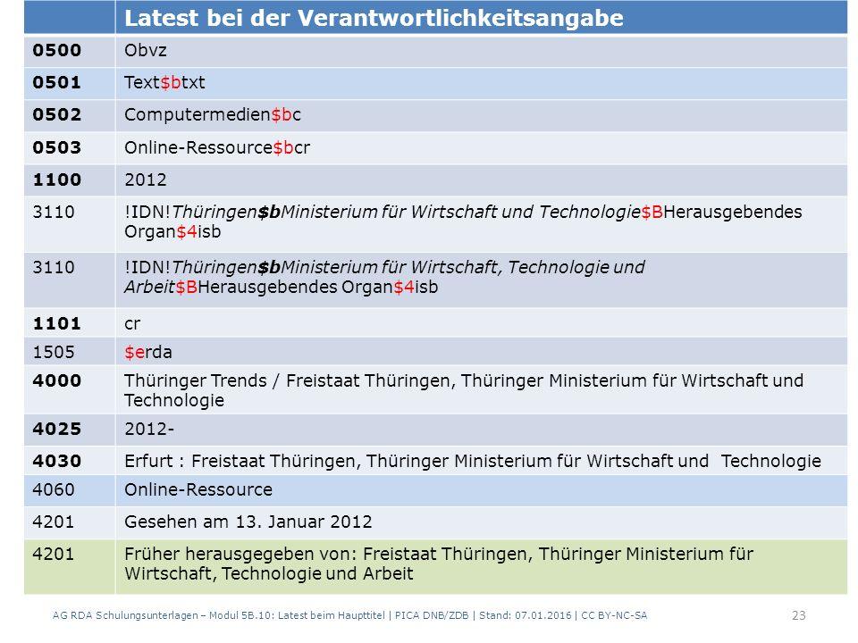 AG RDA Schulungsunterlagen – Modul 5B.10: Latest beim Haupttitel | PICA DNB/ZDB | Stand: 07.01.2016 | CC BY-NC-SA 23 Latest bei der Verantwortlichkeitsangabe 0500Obvz 0501Text$btxt 0502Computermedien$bc 0503Online-Ressource$bcr 11002012 3110!IDN!Thüringen$bMinisterium für Wirtschaft und Technologie$BHerausgebendes Organ$4isb 3110!IDN!Thüringen$bMinisterium für Wirtschaft, Technologie und Arbeit$BHerausgebendes Organ$4isb 1101cr 1505$erda 4000Thüringer Trends / Freistaat Thüringen, Thüringer Ministerium für Wirtschaft und Technologie 40252012- 4030Erfurt : Freistaat Thüringen, Thüringer Ministerium für Wirtschaft und Technologie 4060Online-Ressource 4201Gesehen am 13.