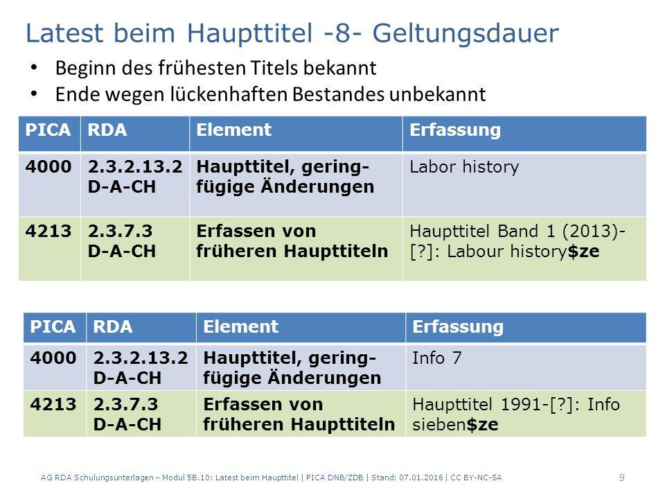 9 PICARDAElementErfassung 40002.3.2.13.2 D-A-CH Haupttitel, gering- fügige Änderungen Labor history 42132.3.7.3 D-A-CH Erfassen von früheren Haupttiteln Haupttitel Band 1 (2013)- [?]: Labour history$ze Latest beim Haupttitel -8- Geltungsdauer Beginn des frühesten Titels bekannt Ende wegen lückenhaften Bestandes unbekannt PICARDAElementErfassung 40002.3.2.13.2 D-A-CH Haupttitel, gering- fügige Änderungen Info 7 42132.3.7.3 D-A-CH Erfassen von früheren Haupttiteln Haupttitel 1991-[?]: Info sieben$ze