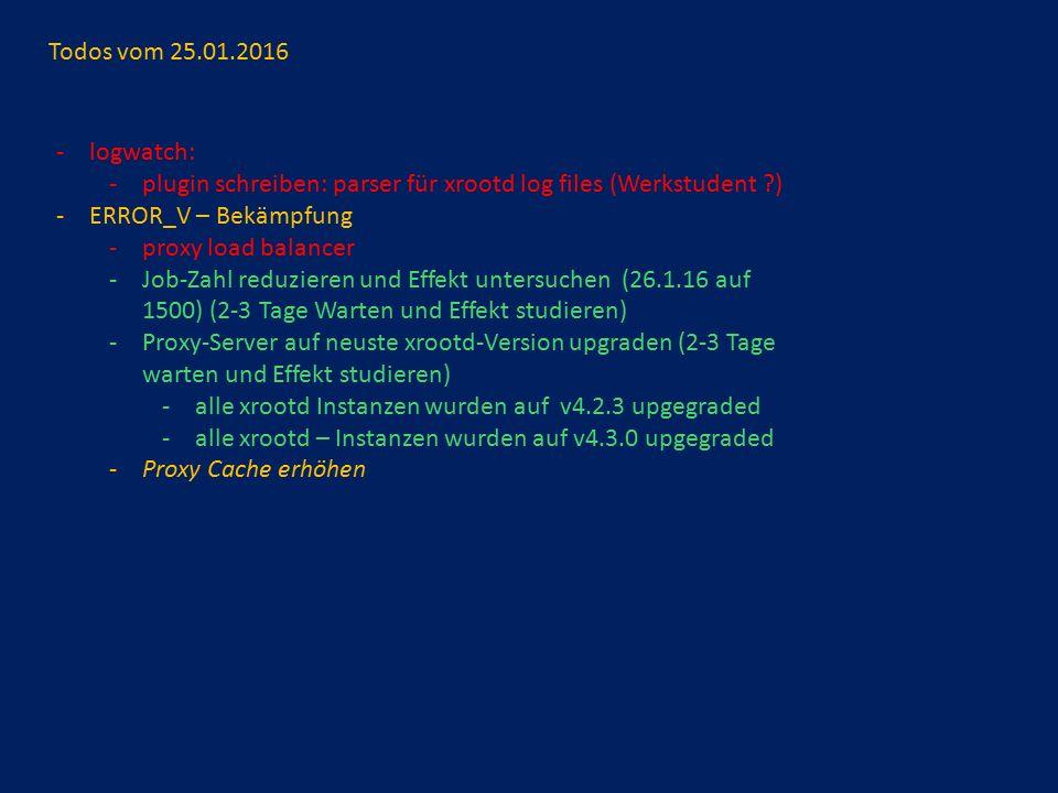 Todos vom 25.01.2016 -logwatch: -plugin schreiben: parser für xrootd log files (Werkstudent ?) -ERROR_V – Bekämpfung -proxy load balancer -Job-Zahl reduzieren und Effekt untersuchen (26.1.16 auf 1500) (2-3 Tage Warten und Effekt studieren) -Proxy-Server auf neuste xrootd-Version upgraden (2-3 Tage warten und Effekt studieren) -alle xrootd Instanzen wurden auf v4.2.3 upgegraded -alle xrootd – Instanzen wurden auf v4.3.0 upgegraded -Proxy Cache erhöhen