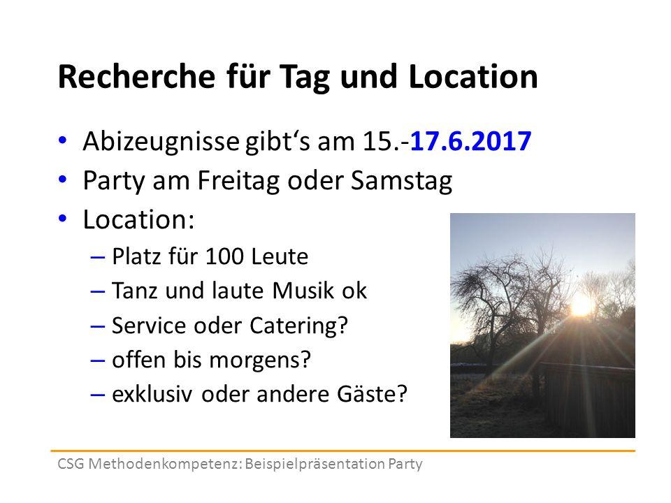 Recherche für Tag und Location Abizeugnisse gibt's am 15.-17.6.2017 Party am Freitag oder Samstag Location: – Platz für 100 Leute – Tanz und laute Musik ok – Service oder Catering.