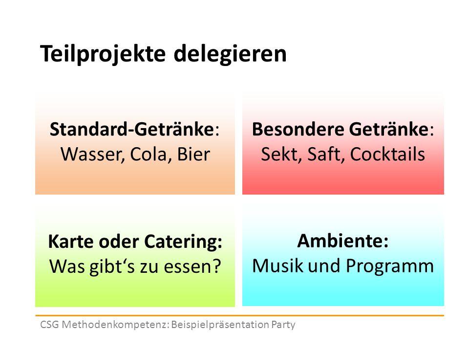 Teilprojekte delegieren CSG Methodenkompetenz: Beispielpräsentation Party Standard-Getränke: Wasser, Cola, Bier Besondere Getränke: Sekt, Saft, Cocktails Karte oder Catering: Was gibt's zu essen.