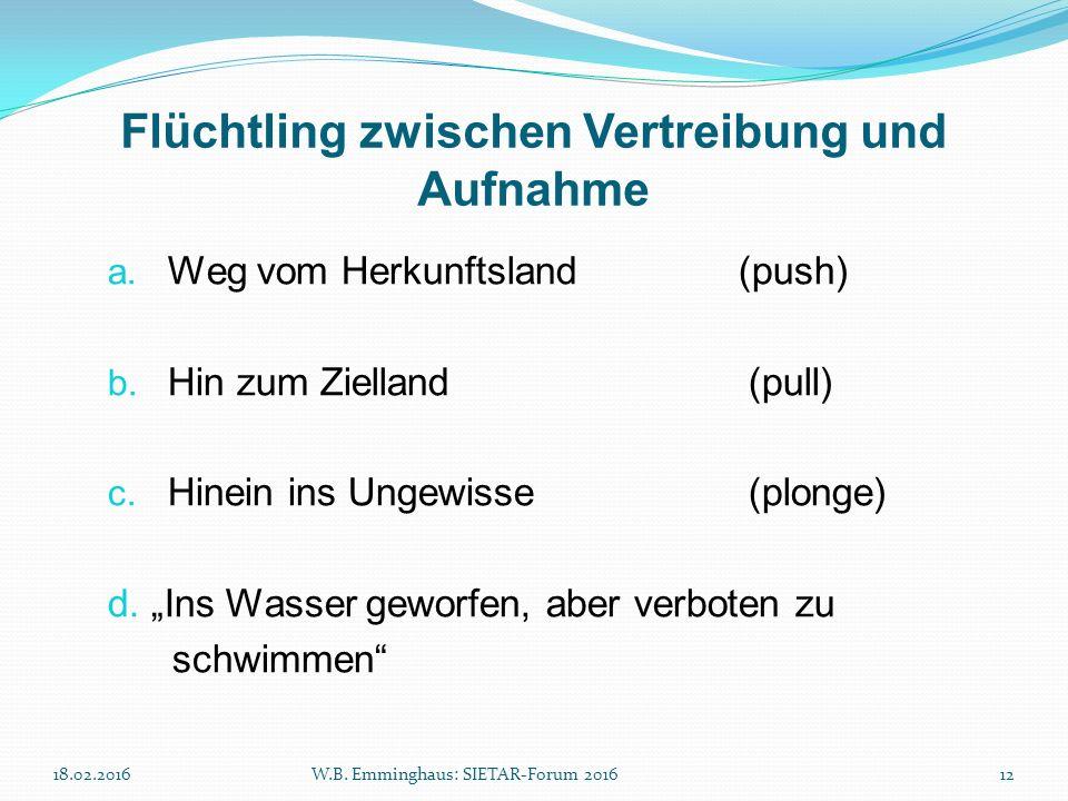 """Flüchtling zwischen Vertreibung und Aufnahme a. Weg vom Herkunftsland (push) b. Hin zum Zielland(pull) c. Hinein ins Ungewisse(plonge) d. """"Ins Wasser"""
