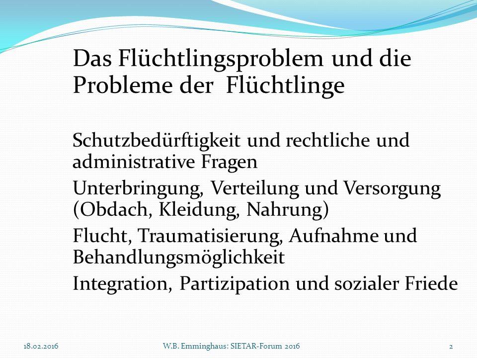 18.02.2016W.B. Emminghaus: SIETAR-Forum 20162 Das Flüchtlingsproblem und die Probleme der Flüchtlinge Schutzbedürftigkeit und rechtliche und administr