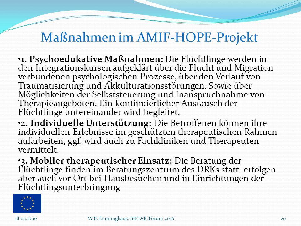 1. Psychoedukative Maßnahmen: Die Flüchtlinge werden in den Integrationskursen aufgeklärt über die Flucht und Migration verbundenen psychologischen Pr