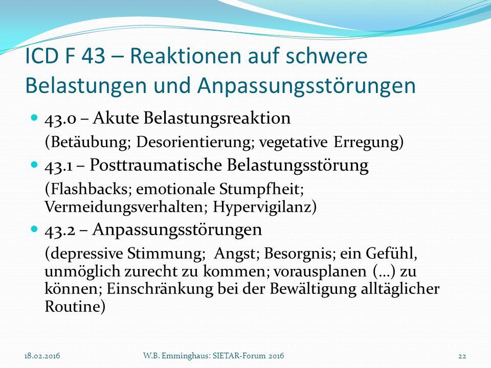 ICD F 43 – Reaktionen auf schwere Belastungen und Anpassungsstörungen 43.0 – Akute Belastungsreaktion (Betäubung; Desorientierung; vegetative Erregung