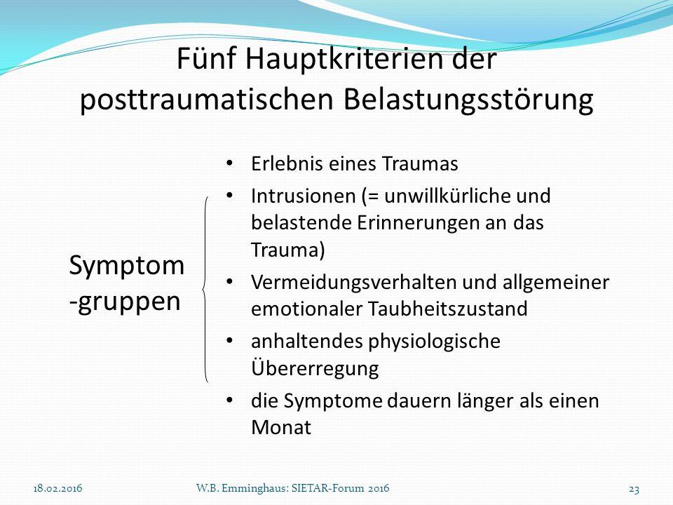 Fünf Hauptkriterien der posttraumatischen Belastungsstörung Symptom -gruppen Erlebnis eines Traumas Intrusionen (= unwillkürliche und belastende Erinn