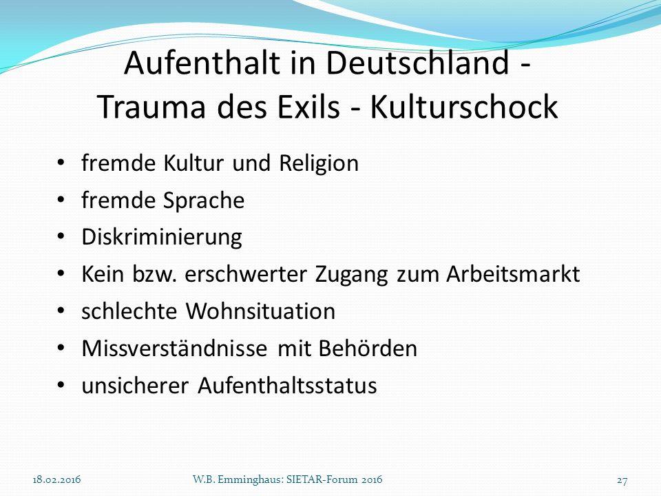 Aufenthalt in Deutschland - Trauma des Exils - Kulturschock fremde Kultur und Religion fremde Sprache Diskriminierung Kein bzw. erschwerter Zugang zum