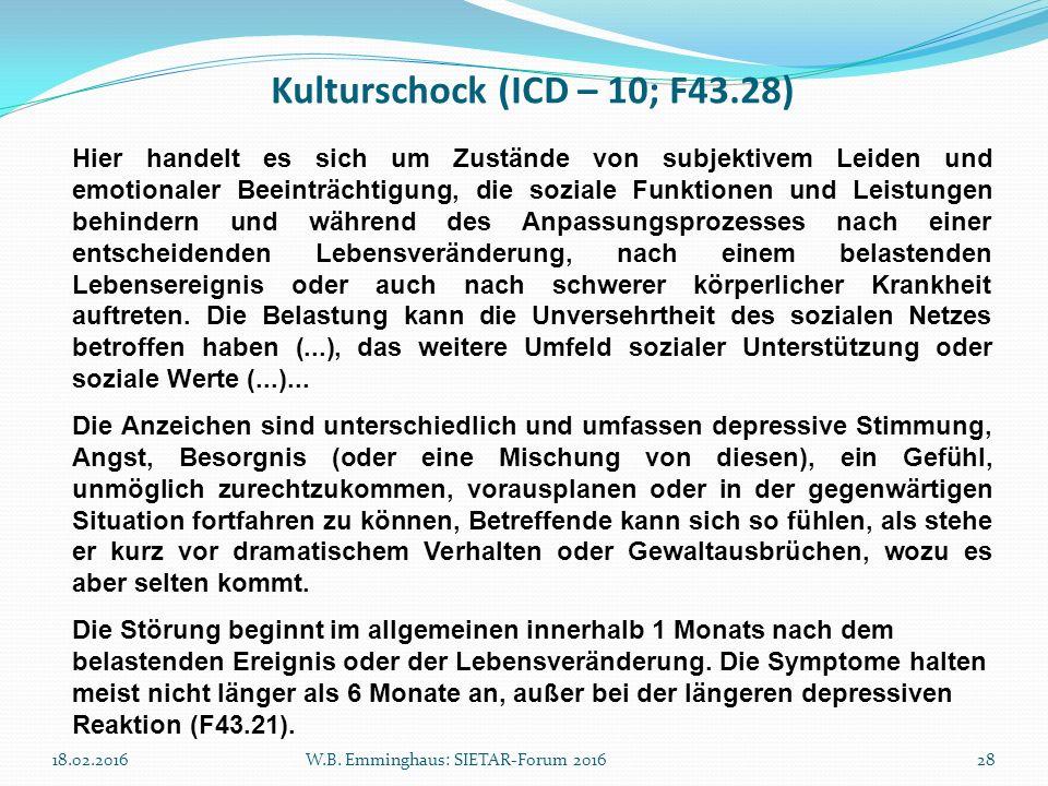 Kulturschock (ICD – 10; F43.28) 18.02.2016W.B. Emminghaus: SIETAR-Forum 201628 Hier handelt es sich um Zustände von subjektivem Leiden und emotionaler
