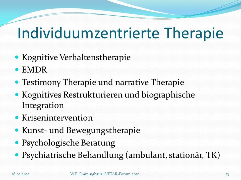 Individuumzentrierte Therapie Kognitive Verhaltenstherapie EMDR Testimony Therapie und narrative Therapie Kognitives Restrukturieren und biographische