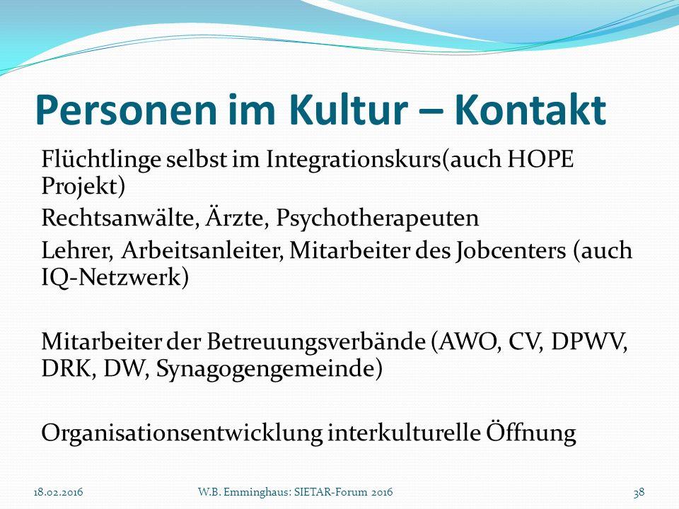 Personen im Kultur – Kontakt Flüchtlinge selbst im Integrationskurs(auch HOPE Projekt) Rechtsanwälte, Ärzte, Psychotherapeuten Lehrer, Arbeitsanleiter