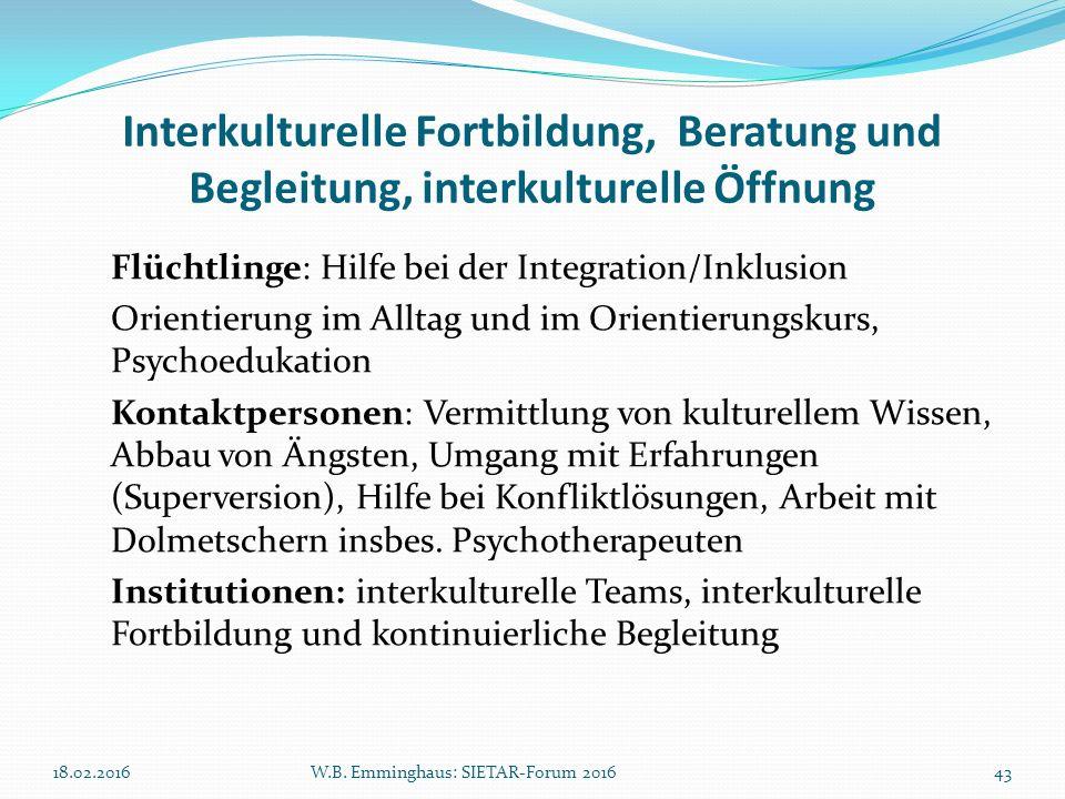 Interkulturelle Fortbildung, Beratung und Begleitung, interkulturelle Öffnung Flüchtlinge: Hilfe bei der Integration/Inklusion Orientierung im Alltag