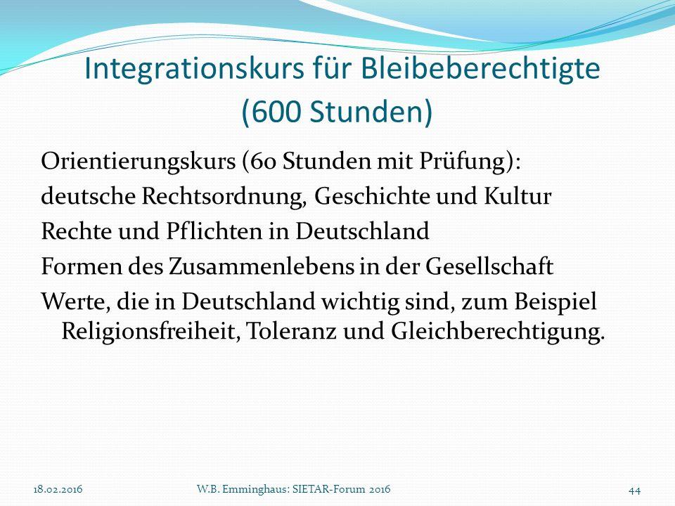 Integrationskurs für Bleibeberechtigte (600 Stunden) Orientierungskurs (60 Stunden mit Prüfung): deutsche Rechtsordnung, Geschichte und Kultur Rechte