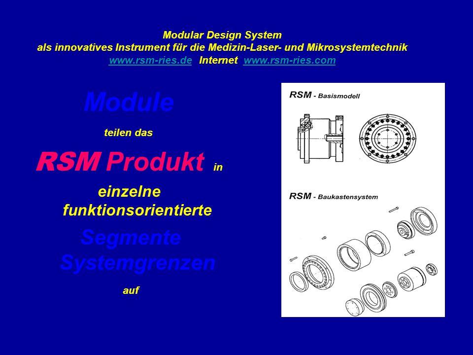 Modular Design System als innovatives Instrument für die Medizin-Laser- und Mikrosystemtechnik www.rsm-ries.de Internet www.rsm-ries.com www.rsm-ries.dewww.rsm-ries.com Module teilen das RSM Produkt in einzelne funktionsorientierte Segmente Systemgrenzen auf