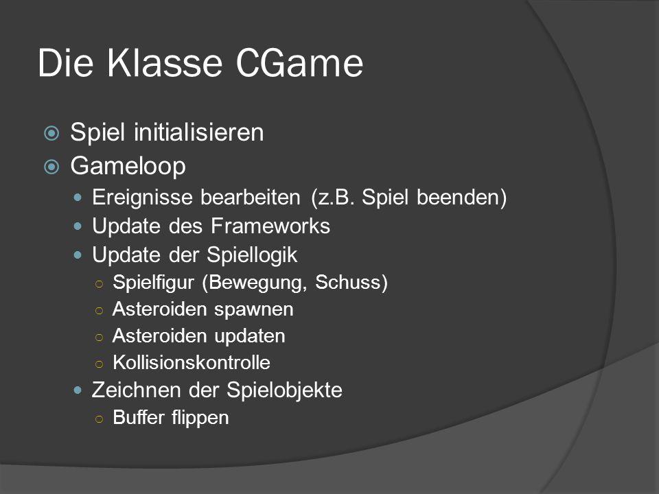 Die Klasse CGame  Spiel initialisieren  Gameloop Ereignisse bearbeiten (z.B.