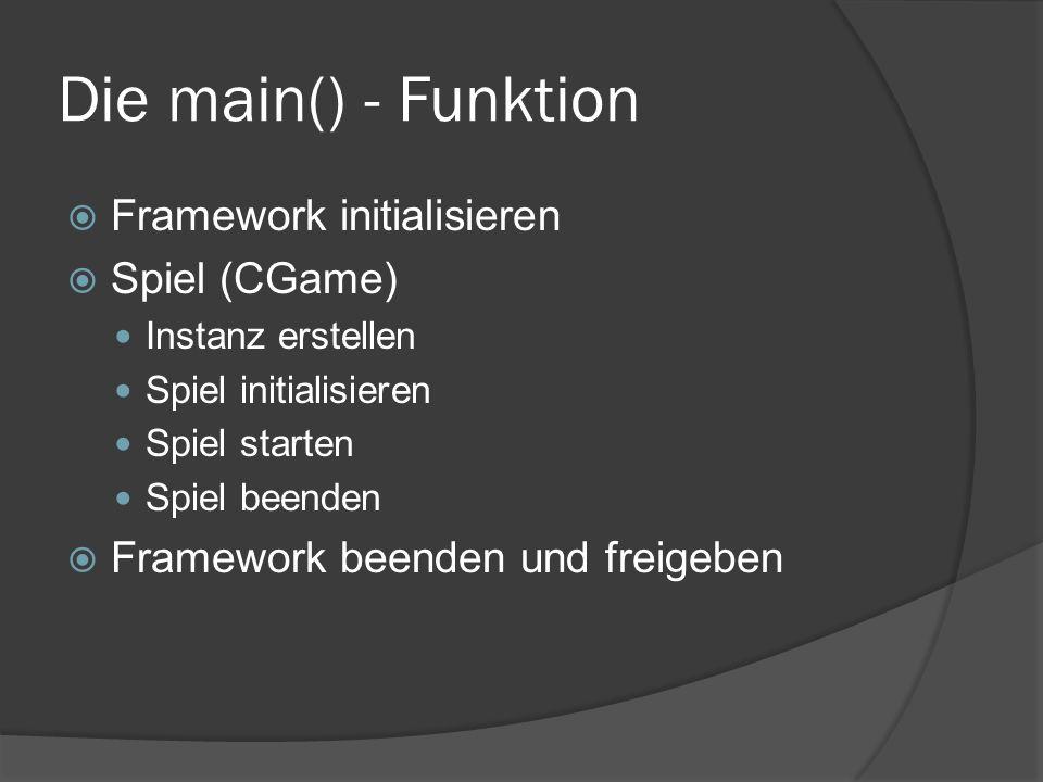 Die main() - Funktion  Framework initialisieren  Spiel (CGame) Instanz erstellen Spiel initialisieren Spiel starten Spiel beenden  Framework beenden und freigeben