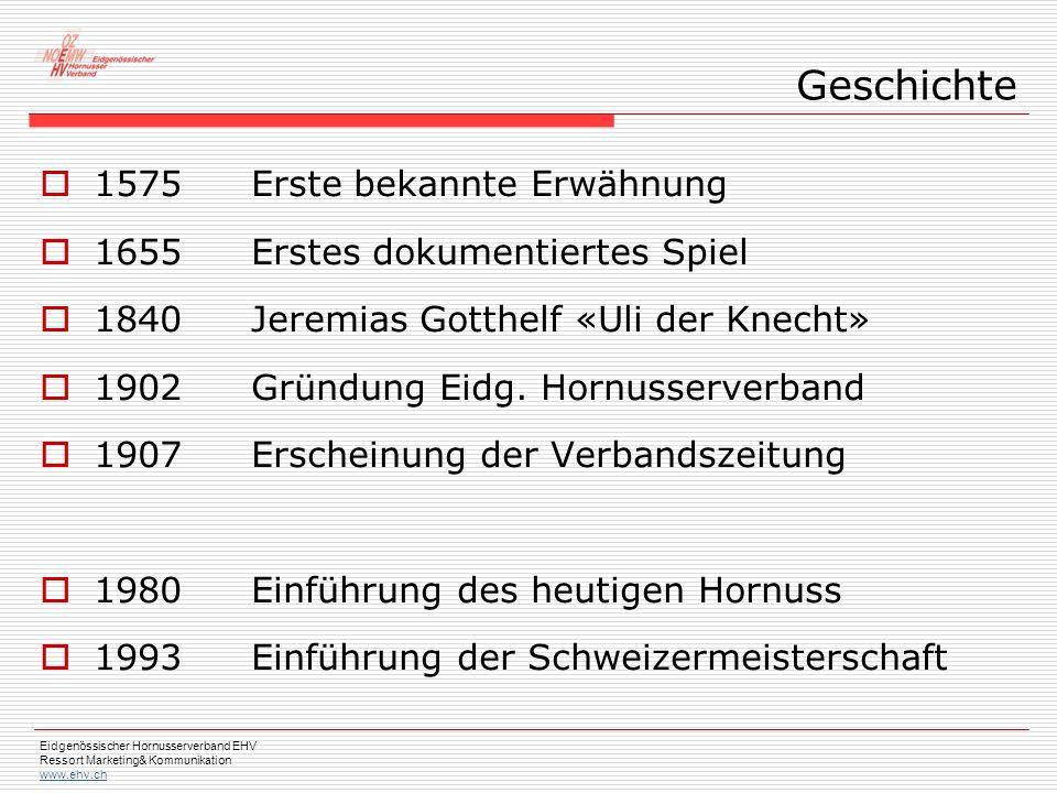 Eidgenössischer Hornusserverband EHV Ressort Marketing& Kommunikation www.ehv.ch  1575Erste bekannte Erwähnung  1655Erstes dokumentiertes Spiel  1840Jeremias Gotthelf «Uli der Knecht»  1902Gründung Eidg.