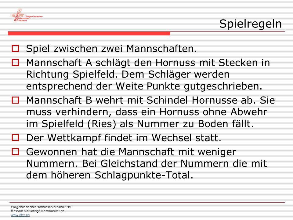 Eidgenössischer Hornusserverband EHV Ressort Marketing& Kommunikation www.ehv.ch  Spiel zwischen zwei Mannschaften.