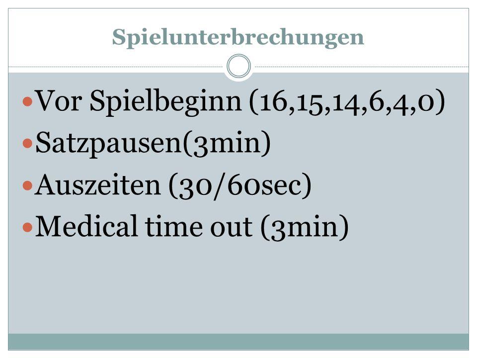 Spielunterbrechungen Vor Spielbeginn (16,15,14,6,4,0) Satzpausen(3min) Auszeiten (30/60sec) Medical time out (3min)