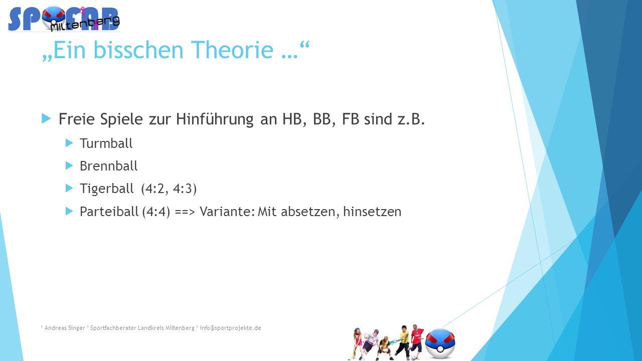 """""""Ein bisschen Theorie …  Freie Spiele zur Hinführung an HB, BB, FB sind z.B."""