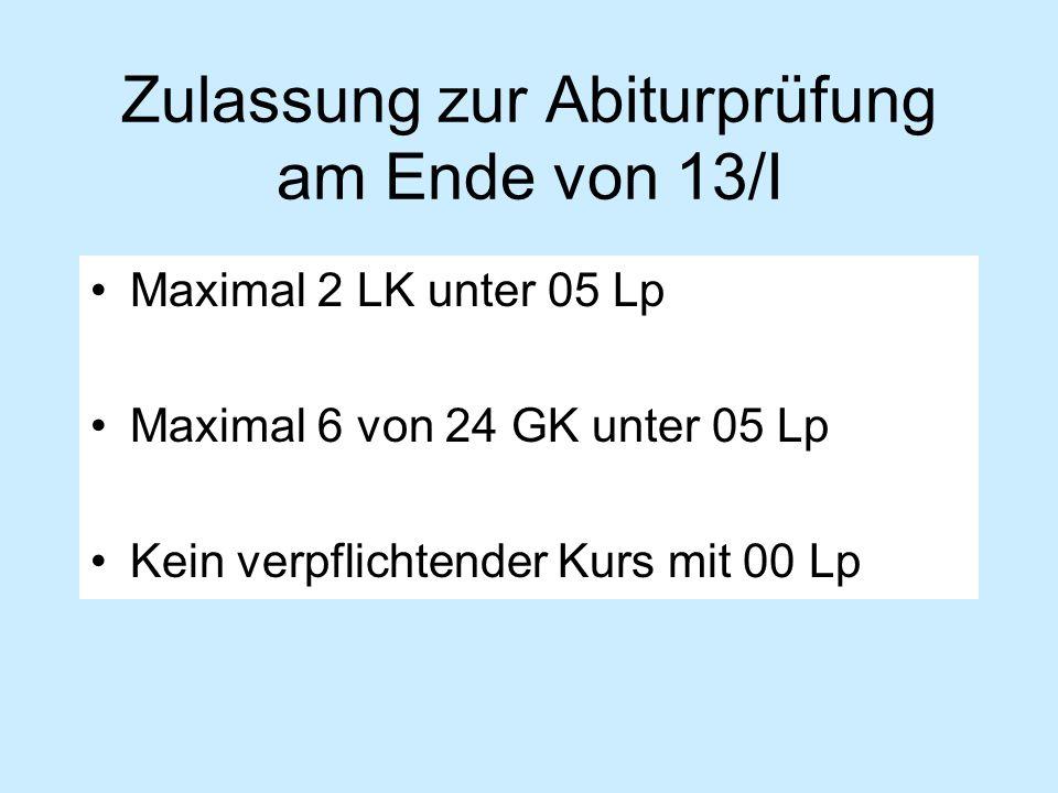 Zulassung zur Abiturprüfung am Ende von 13/I Maximal 2 LK unter 05 Lp Maximal 6 von 24 GK unter 05 Lp Kein verpflichtender Kurs mit 00 Lp