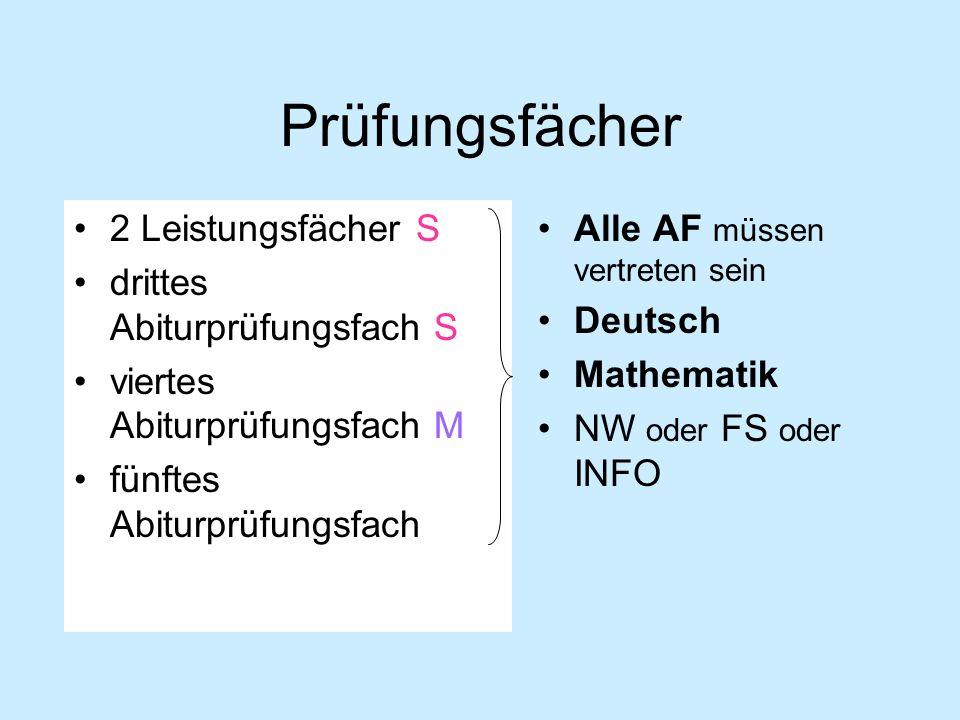 Prüfungsfächer 2 Leistungsfächer S drittes Abiturprüfungsfach S viertes Abiturprüfungsfach M fünftes Abiturprüfungsfach Alle AF müssen vertreten sein