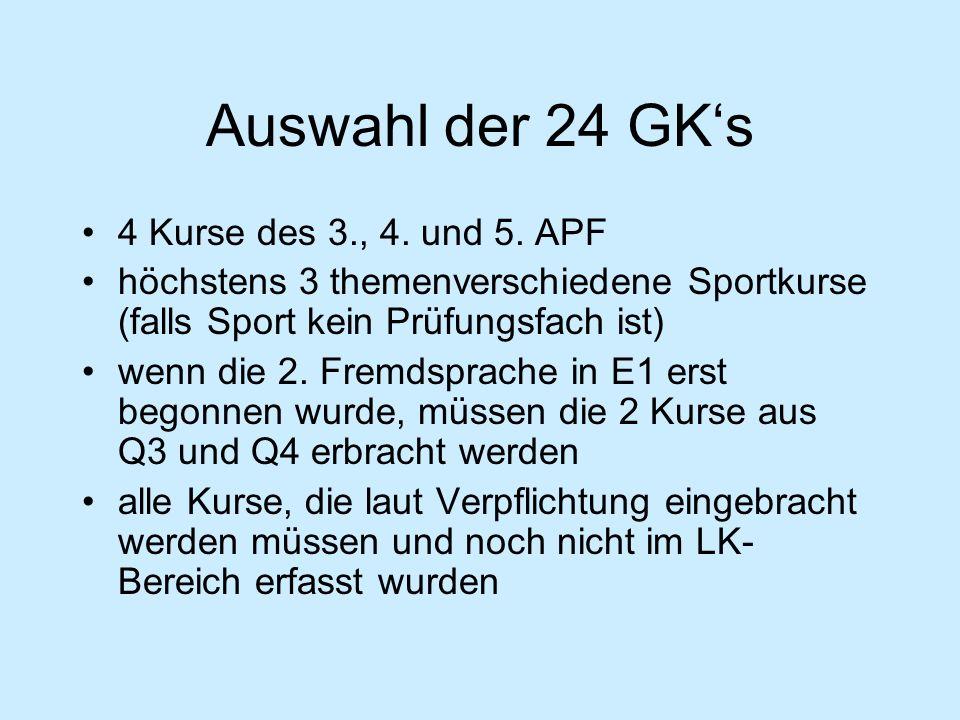 Auswahl der 24 GK's 4 Kurse des 3., 4. und 5. APF höchstens 3 themenverschiedene Sportkurse (falls Sport kein Prüfungsfach ist) wenn die 2. Fremdsprac
