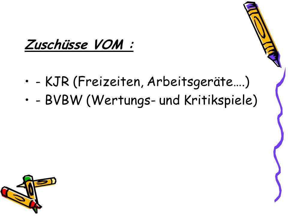 Zuschüsse VOM : - KJR (Freizeiten, Arbeitsgeräte….) - BVBW (Wertungs- und Kritikspiele)
