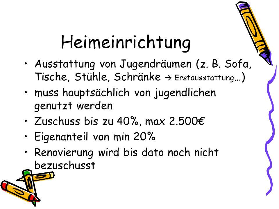 Heimeinrichtung Ausstattung von Jugendräumen (z. B.