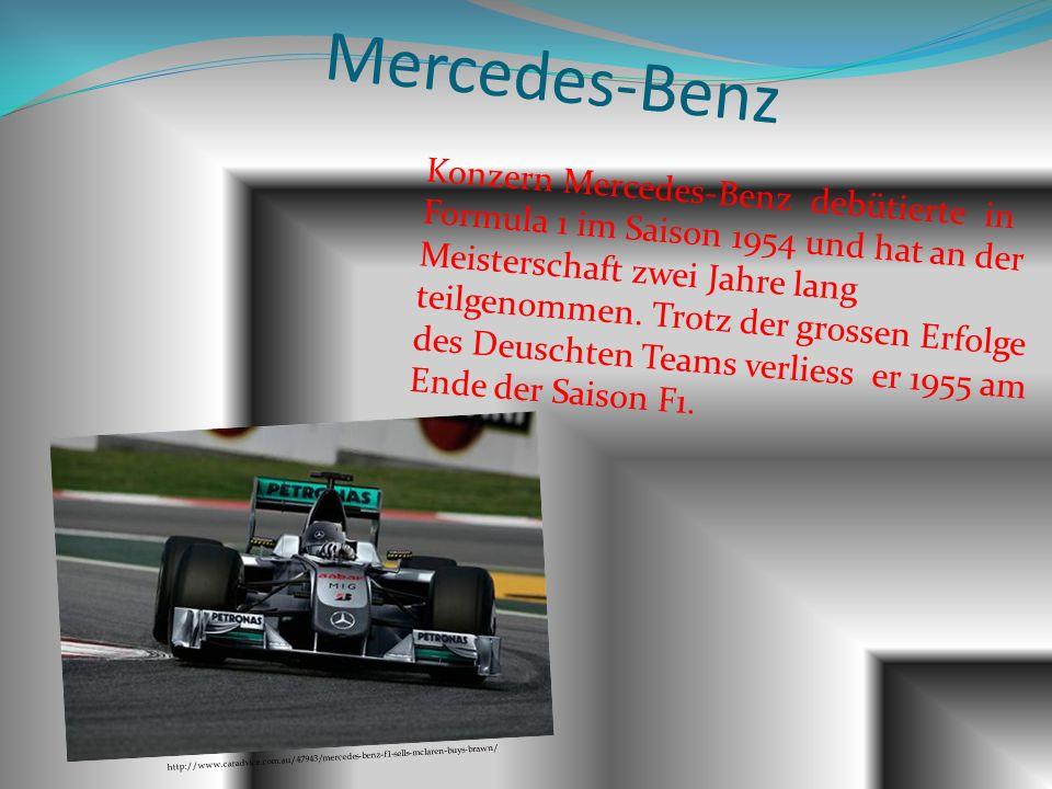 Mercedes-Benz Konzern Mercedes-Benz debütierte in Formula 1 im Saison 1954 und hat an der Meisterschaft zwei Jahre lang teilgenommen. Trotz der grosse