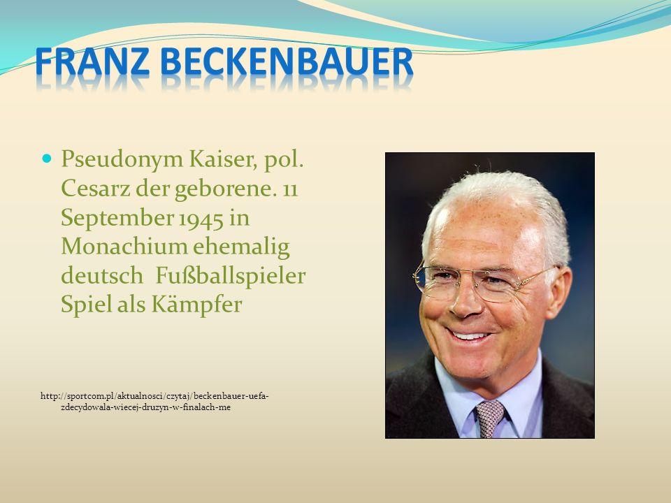 Pseudonym Kaiser, pol. Cesarz der geborene. 11 September 1945 in Monachium ehemalig deutsch Fußballspieler Spiel als Kämpfer http://sportcom.pl/aktual
