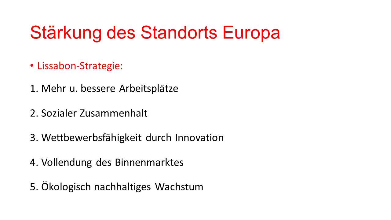 Stärkung des Standorts Europa Lissabon-Strategie: 1. Mehr u. bessere Arbeitsplätze 2. Sozialer Zusammenhalt 3. Wettbewerbsfähigkeit durch Innovation 4