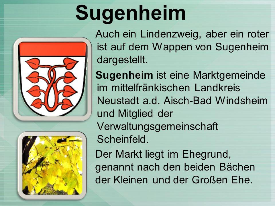 Sugenheim Auch ein Lindenzweig, aber ein roter ist auf dem Wappen von Sugenheim dargestellt.
