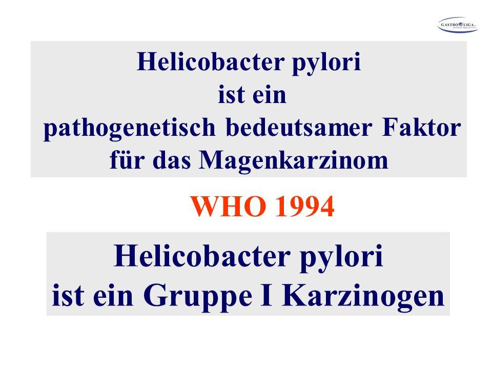 Helicobacter pylori ist ein pathogenetisch bedeutsamer Faktor für das Magenkarzinom Helicobacter pylori ist ein Gruppe I Karzinogen WHO 1994