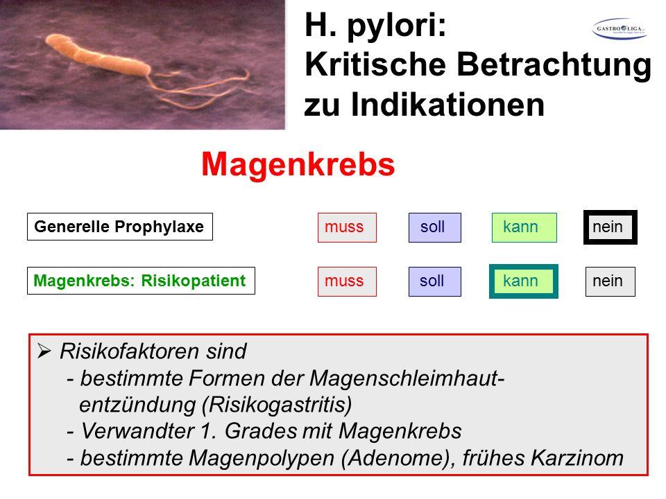 H. pylori: Kritische Betrachtung zu Indikationen Magenkrebs Generelle Prophylaxemuss soll kann nein Magenkrebs: Risikopatientmuss soll kann nein  Ris