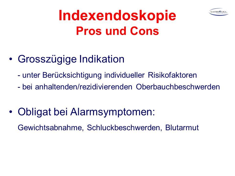 Indexendoskopie Pros und Cons Grosszügige Indikation - unter Berücksichtigung individueller Risikofaktoren - bei anhaltenden/rezidivierenden Oberbauchbeschwerden Obligat bei Alarmsymptomen: Gewichtsabnahme, Schluckbeschwerden, Blutarmut