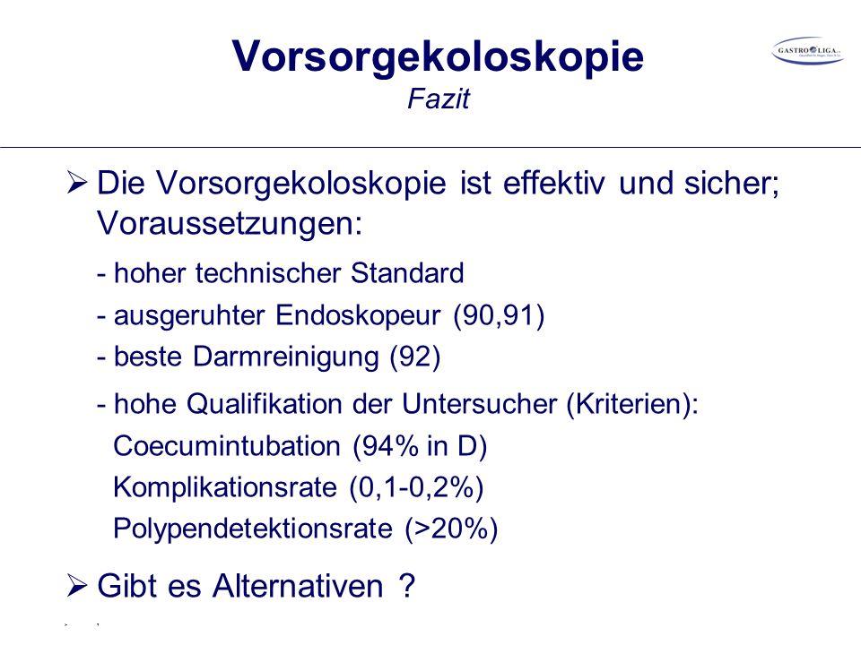 Vorsorgekoloskopie Fazit  Die Vorsorgekoloskopie ist effektiv und sicher; Voraussetzungen: - hoher technischer Standard - ausgeruhter Endoskopeur (90,91) - beste Darmreinigung (92) - hohe Qualifikation der Untersucher (Kriterien): Coecumintubation (94% in D) Komplikationsrate (0,1-0,2%) Polypendetektionsrate (>20%)  Gibt es Alternativen .