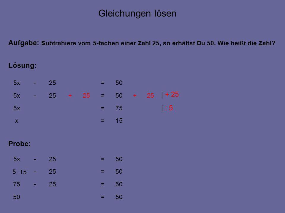 15=x 50=25-5x Aufgabe: Subtrahiere vom 5-fachen einer Zahl 25, so erhältst Du 50.