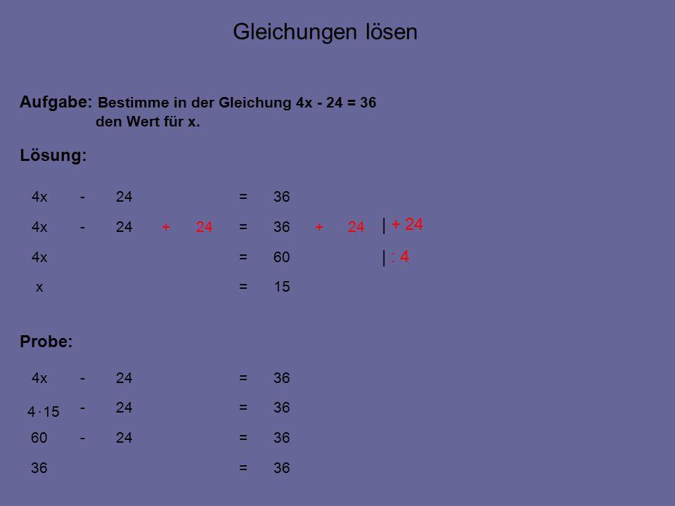 15=x 36=24-4x Aufgabe: Bestimme in der Gleichung 4x - 24 = 36 den Wert für x.