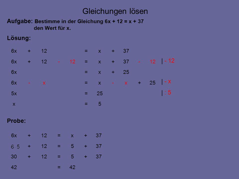5=x 25=5x 25+x-x=x-6x 25+x=6x 12-37+x=12- +6x 37+x=12+6x Gleichungen lösen Aufgabe: Bestimme in der Gleichung 6x + 12 = x + 37 den Wert für x.
