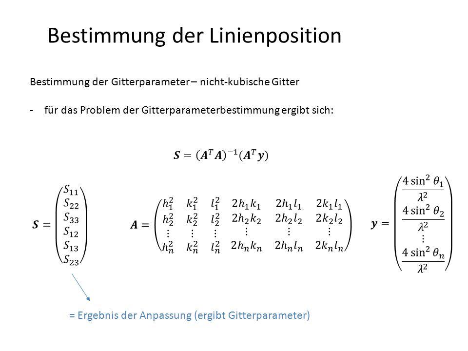 Bestimmung der Linienposition Bestimmung der Gitterparameter – nicht-kubische Gitter -für das Problem der Gitterparameterbestimmung ergibt sich: = Erg