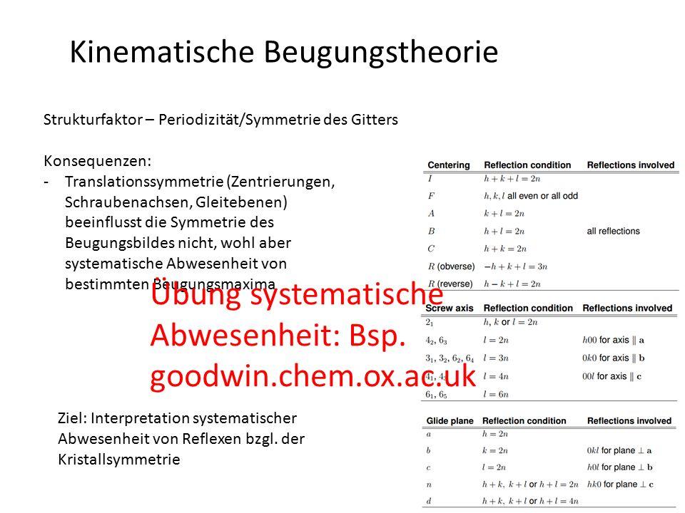 Kinematische Beugungstheorie Strukturfaktor – Periodizität/Symmetrie des Gitters Konsequenzen: -Translationssymmetrie (Zentrierungen, Schraubenachsen,