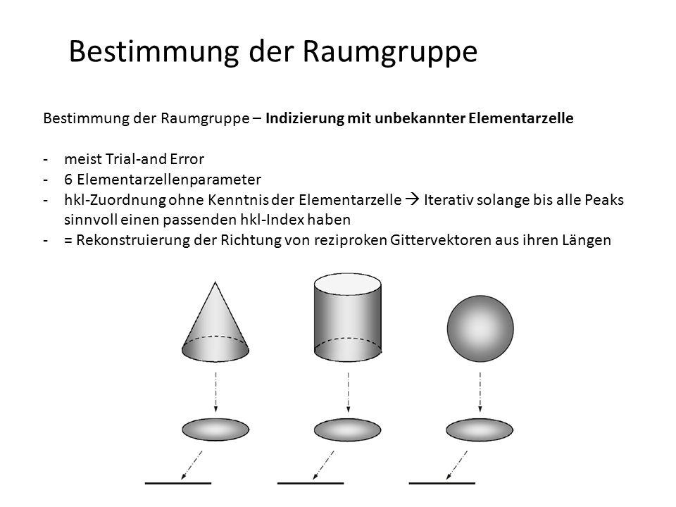 Bestimmung der Raumgruppe Bestimmung der Raumgruppe – Indizierung mit unbekannter Elementarzelle -Lösung des Problem ist dennoch möglich, da kristallographische Gesetzmäßigkeiten gewisse Dinge verbieten oder erlauben