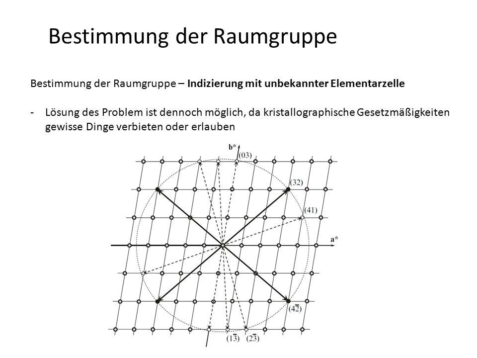 Bestimmung der Raumgruppe Bestimmung der Raumgruppe – Indizierung mit unbekannter Elementarzelle -Lösung des Problem ist dennoch möglich, da kristallographische Gesetzmäßigkeiten gewisse Dinge verbieten oder erlauben -wesentliche Bestandteile -Peaks bei kleinesten Winkel haben typischerweise die einfachsten Indizes (h,k,l = -2 … 2) -ausgelöschte Bragg-Peaks bei kleinen Winkeln -hohe absolute Genauigkeit der Winkelpositionen (Minimierung von Probenversatz, Nullpunktverschiebung) -Vermeiden von Verunreinigungen -je geringer die Symmetrie desto komplexer das Problem