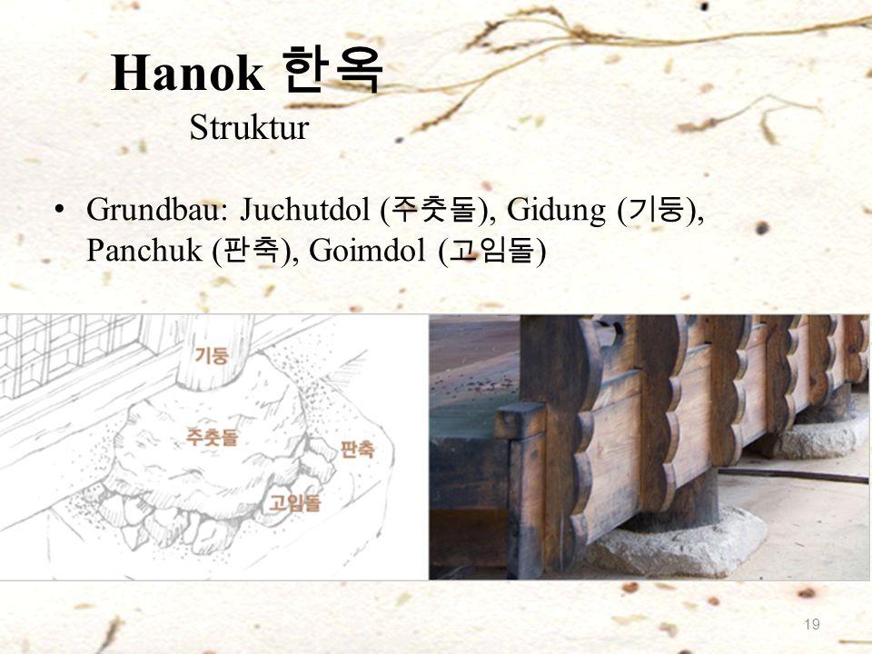 Grundbau: Juchutdol ( 주춧돌 ), Gidung ( 기둥 ), Panchuk ( 판축 ), Goimdol ( 고임돌 ) Hanok 한옥 Struktur 19
